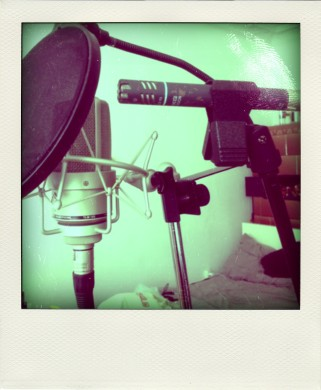 Two vocal recording microphones - an AKG pencil mic and a Neumann condenser.